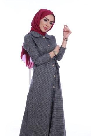 Boydan Tahta Düğmeli Elbise 6615-03 - Thumbnail