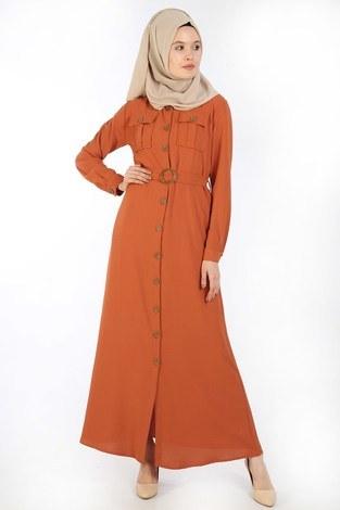 - BoydanDüğmeli Elbise 6071-16