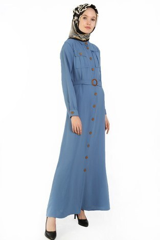 - BoydanDüğmeli Elbise 6071-09