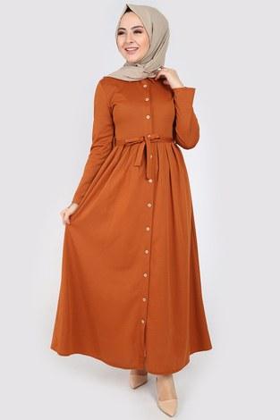 - Boydan Düğmeli Elbise 87781-011