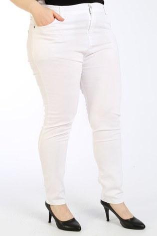 - Büyük Beden Likralı Kot Pantolon 2337-14 beyaz