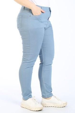 - Büyük Beden Likralı Kot Pantolon 2337-08 mavi