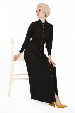 - Büzgü Detaylı Elbise 6061-01