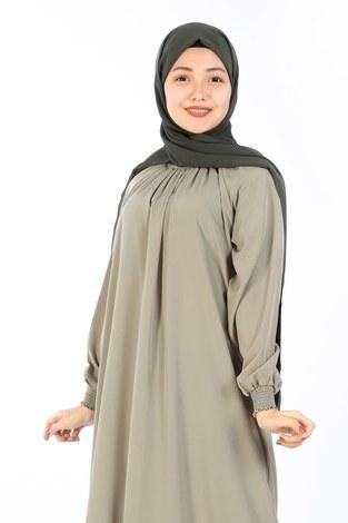 - Büzgülü Genç Ferace Elbise 2528-1 Yeşil (1)