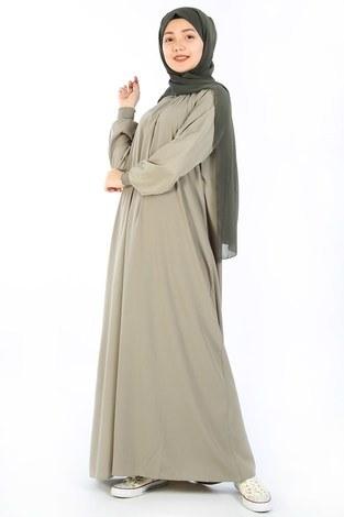 - Büzgülü Genç Ferace Elbise 2528-1 Yeşil