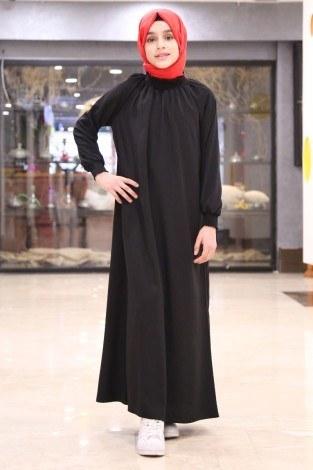 - Büzgülü Çocuk Ferace Elbise 2528-2 Siyah