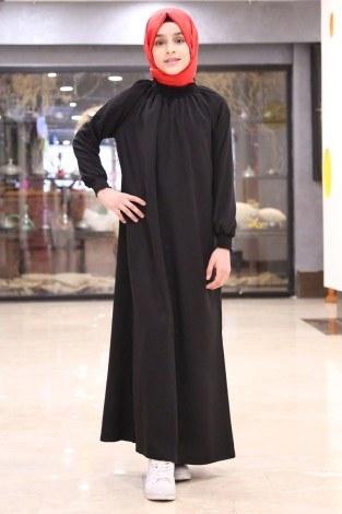 - Büzgülü Çocuk Ferace Elbise 2528-2 Siyah (1)