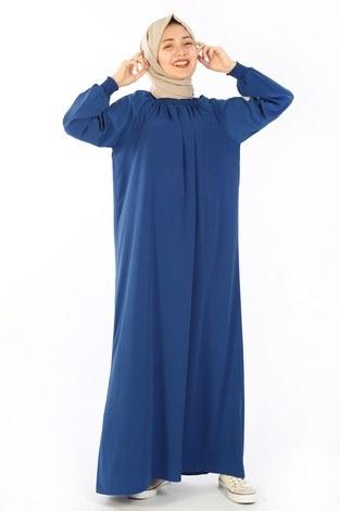 - Büzgülü Genç Ferace Elbise 2528-3 Saks
