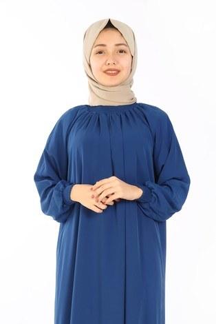- Büzgülü Genç Ferace Elbise 2528-3 Saks (1)