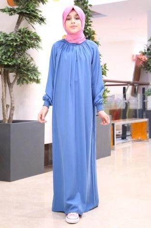 - Büzgülü Çocuk Ferace Elbise 2528-4 mavi