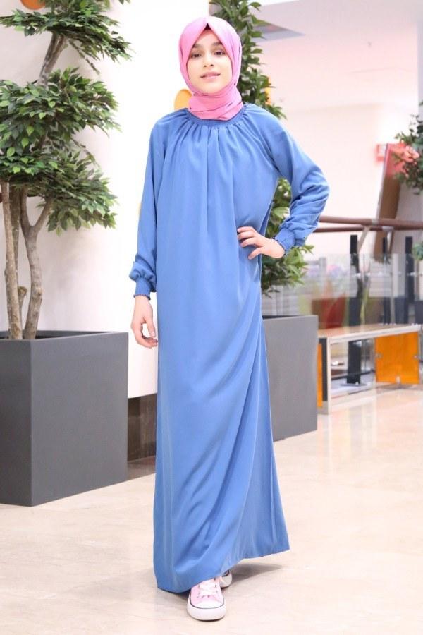 - Büzgülü Çocuk Ferace Elbise 2528-4 mavi (1)