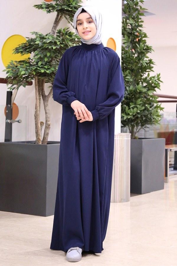 - Büzgülü Çocuk Ferace Elbise 2528-5 Lacivert