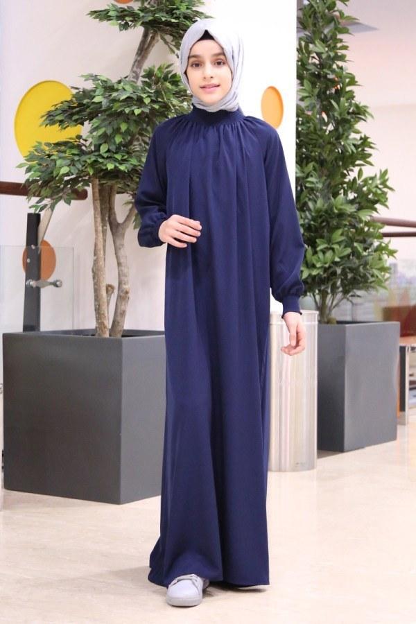 - Büzgülü Çocuk Ferace Elbise 2528-5 Lacivert (1)