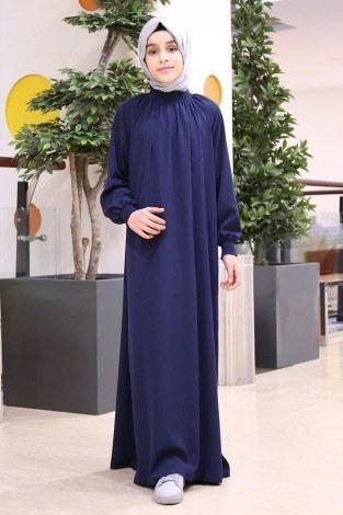 Büzgülü Çocuk Ferace Elbise 2528-5 Lacivert - Thumbnail