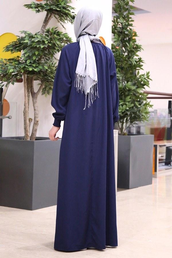 Büzgülü Çocuk Ferace Elbise 2528-5 Lacivert