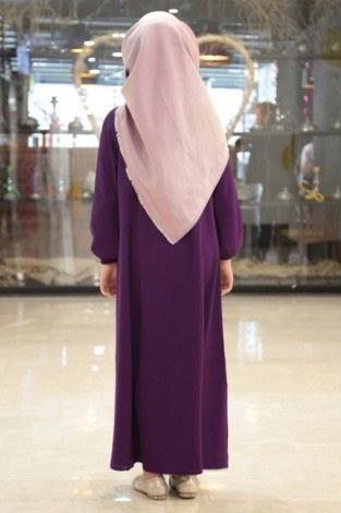 Büzgülü Çocuk Ferace Elbise 9804-12 MOR - Thumbnail
