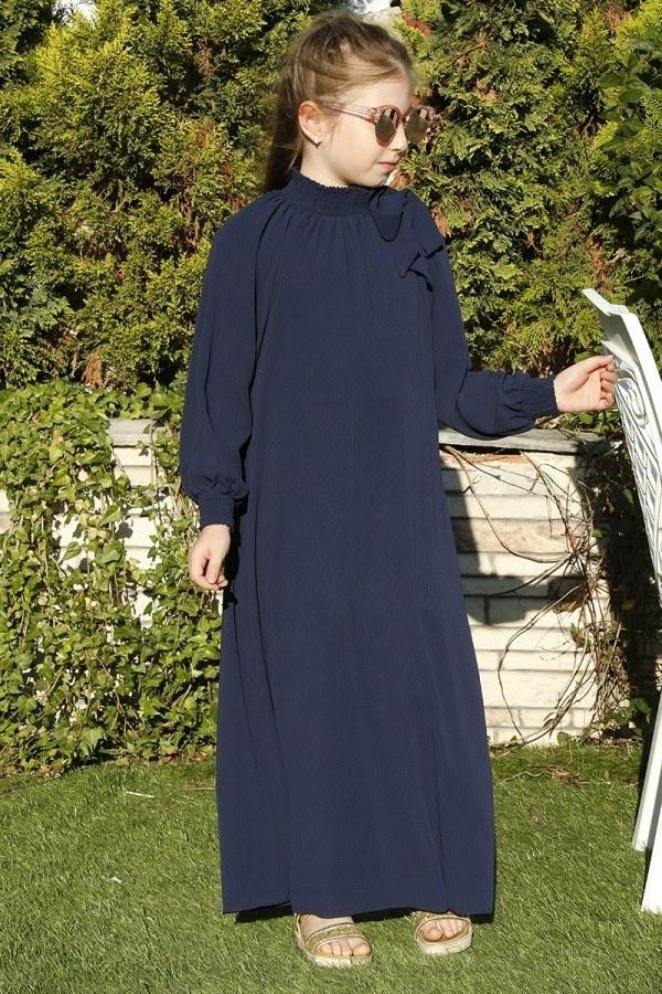 Büzgülü Çocuk Ferace Elbise 9804-30