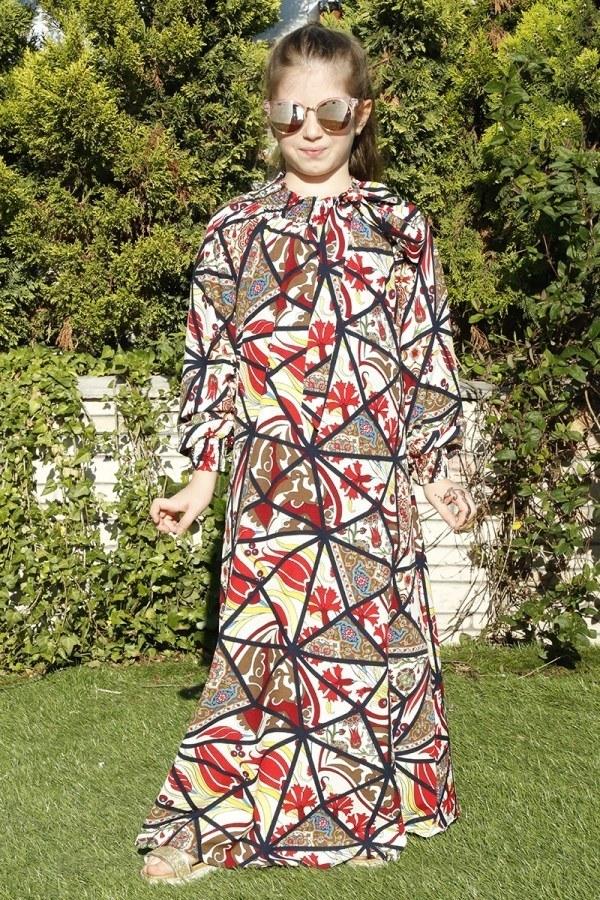 Desenli Büzgülü Çocuk Ferace Elbise 9804-36
