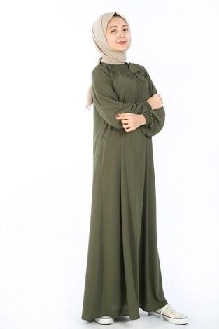 Büzgülü Çocuk Ferace Elbise 9804-18 - Thumbnail