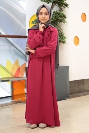 - Büzgülü Çocuk Ferace Elbise 9804-21 (1)