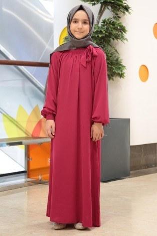 - Büzgülü Çocuk Ferace Elbise 9804-21