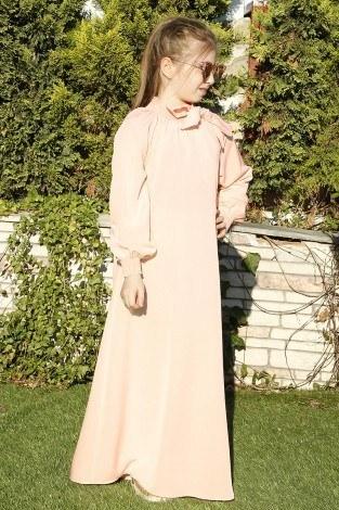 Büzgülü Çocuk Ferace Elbise 9804-17 - Thumbnail