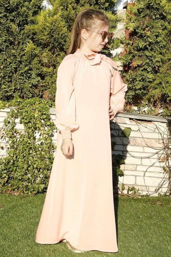 Büzgülü Çocuk Ferace Elbise 9804-17