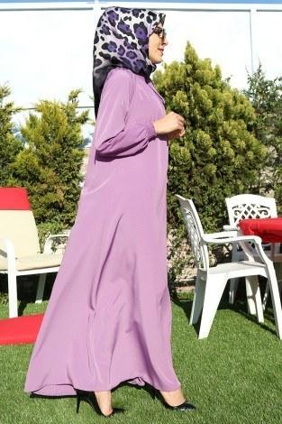 Büzgülü Ferace Elbise 1004-103 - Thumbnail