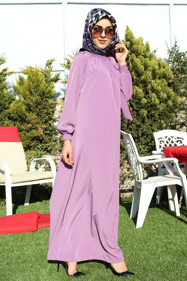 Büzgülü Ferace Elbise 1004-103