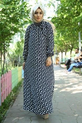 - Büzgülü Ferace Elbise 1004-106 Lacivert