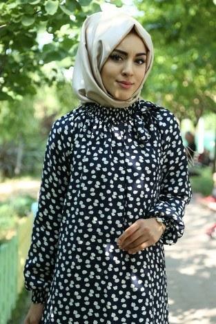 - Büzgülü Ferace Elbise 1004-106 Lacivert (1)