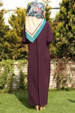 Büzgülü Ferace Elbise 1004-107 - Thumbnail