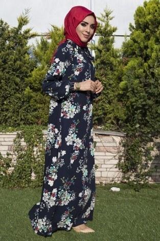 Büzgülü Ferace Elbise 1004-113 - Thumbnail