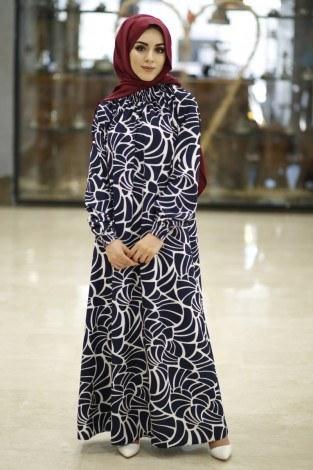- Büzgülü Ferace Elbise 1004-120