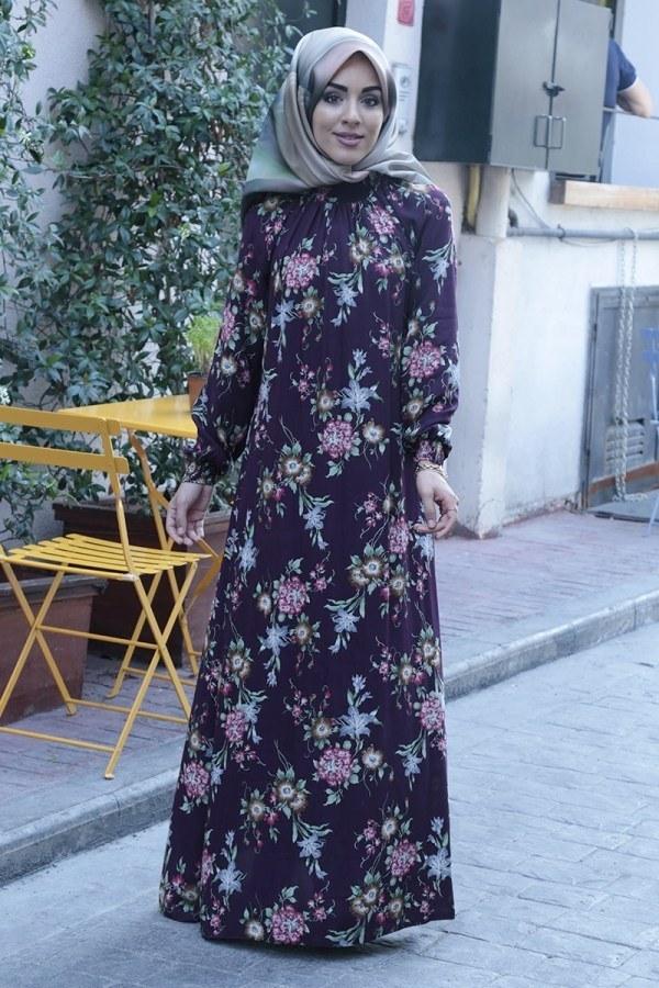 Büzgülü Ferace Elbise 1004-123