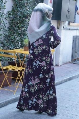 Büzgülü Ferace Elbise 1004-123 - Thumbnail