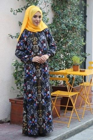 - Büzgülü Ferace Elbise 1004-125