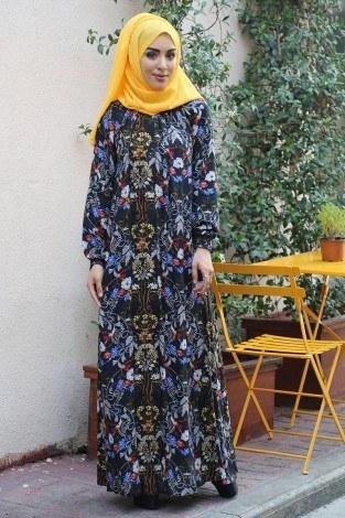 Büzgülü Ferace Elbise 1004-125 - Thumbnail