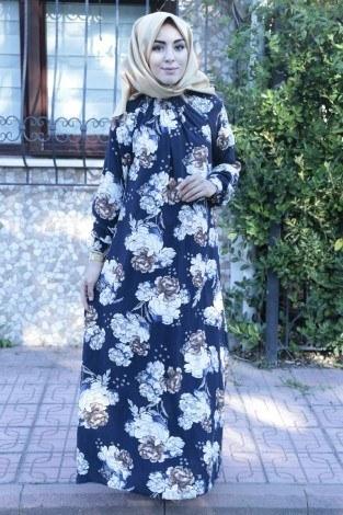 Büzgülü Ferace Elbise 1004-126 - Thumbnail
