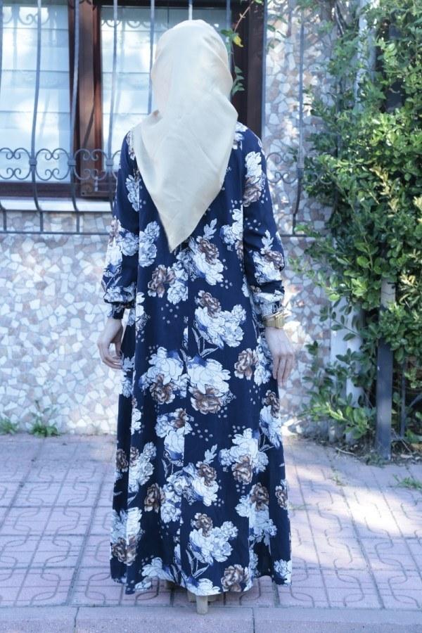 Büzgülü Ferace Elbise 1004-126