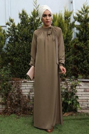 - Büzgülü Ferace Elbise 1004-130