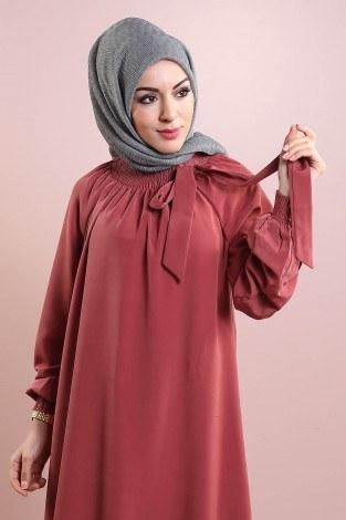 Büzgülü Ferace Elbise 1004-131 - Thumbnail