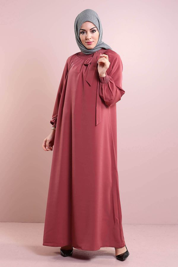 Büzgülü Ferace Elbise 1004-131
