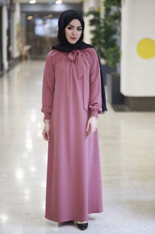 - Büzgülü Ferace Elbise 1004-132