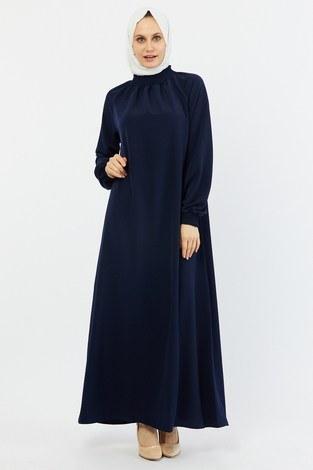 - Büzgülü Ferace Elbise 1004-2 lacivert