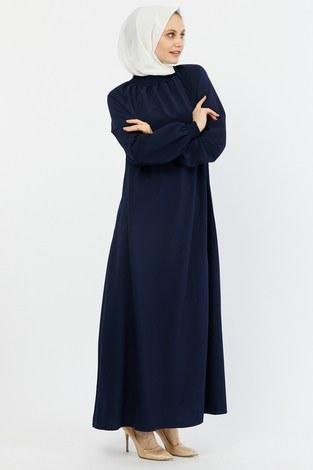 - Büzgülü Ferace Elbise 1004-2 lacivert (1)