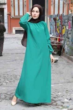Büzgülü Ferace Elbise 1004-142 - Thumbnail