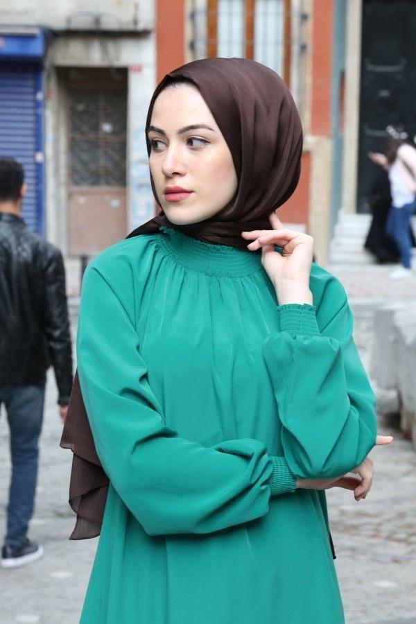 Büzgülü Ferace Elbise 1004-142