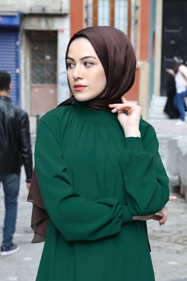 Büzgülü Ferace Elbise 1004-143