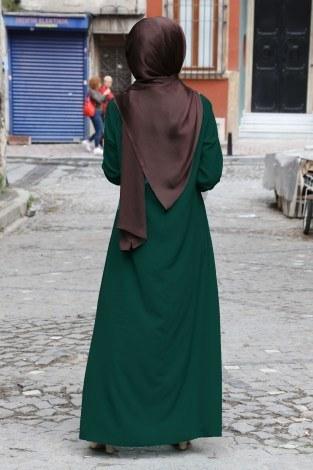 Büzgülü Ferace Elbise 1004-143 - Thumbnail